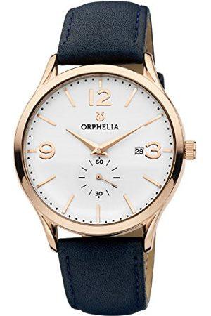 ORPHELIA Kvartsklocka för män, analog klassisk display och läderrem rem Blå/