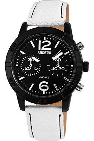 Aerostar Herr analog kvartsklocka med lädermitat armband 21107100002