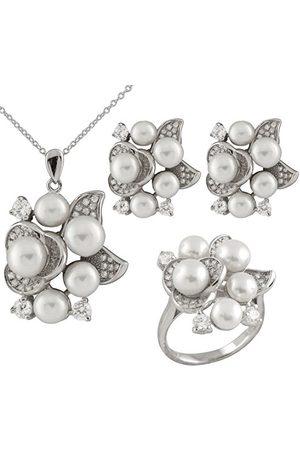 Bella Bella pärlor set med kubisk zirkonia och sötvattenspärlor sterling silver örhängen, hänge med 45 cm kedja och ring e Silver, N, colore: Vitt, cod. NERSR-10-N