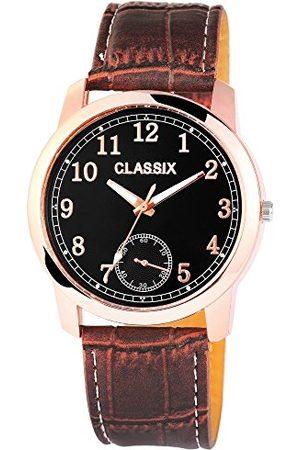 CLASSIX Klassisk herr analog kvartsklocka med läderarmband RP4783110004