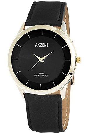 Akzent Akcent herr analog kvartsklocka med olika material armband SS7504000015