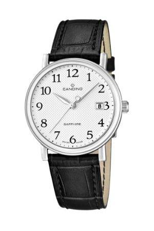Candino Herr kvartsklocka med silverurtavla analog display och läderrem C4487/1