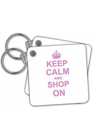3dRose Keep Calm and Shop on Carry on Shopping Shopper Shopaholic Presenter Rosa Rolig Humor Humoristisk Nyckelring, 6 cm;, Varierar