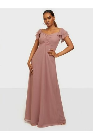 NLY Eve Fancy Frill Gown Maxiklänningar Dusty Pink