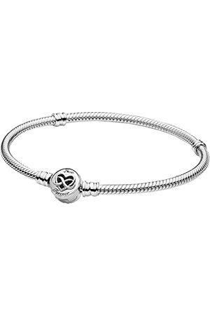 PANDORA Moments-orm länkarmband med hjärta oändlighet lås, sterlingsilver, 21 cm, 599365C00-21