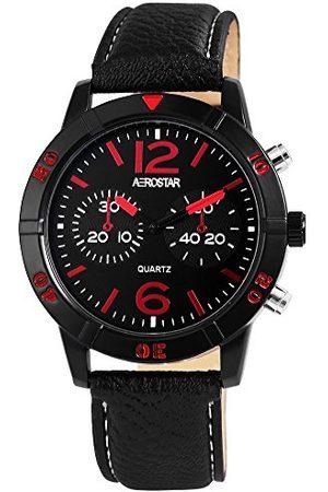 Aerostar Herr analog kvartsklocka med lädererimitat armband 211071300002