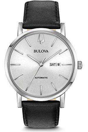BULOVA Herr analog klassisk kvartsklocka med läderrem 96C130