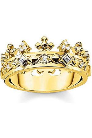 Thomas Sabo Ring med kronmotiv, storlek 58, glam & soul, 925 sterlingsilver, guldpläterad
