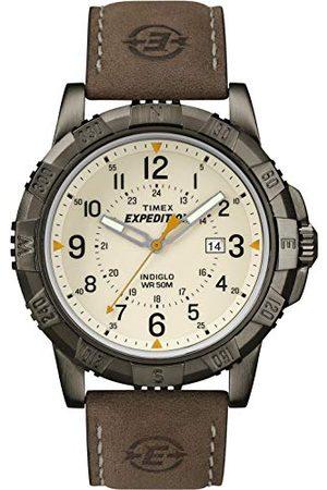 Timex Expedition kvartsklocka för män med analog digital urtavla och robust metallläderrem rem