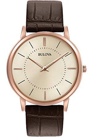 BULOVA Herr designerklocka läderrem – brunt rosguld ultratunna armbandsur 97A126