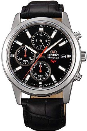 Orient Herr Chronograph kvartsklocka med läderarmband FKU0004B0