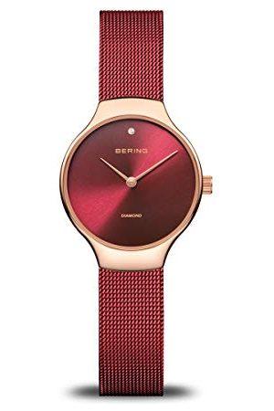 Bering Dam analog kvartsklocka med rostfritt stål armband 13326-Charity