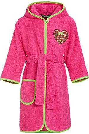 Playshoes Barn frotté badrock hjärta Sweety med huva, fluffig varm morgonrock för flickor