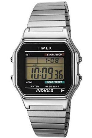Timex Klassisk digital 34 mm expansionsbandsklocka för män Armband No Size Silvertone