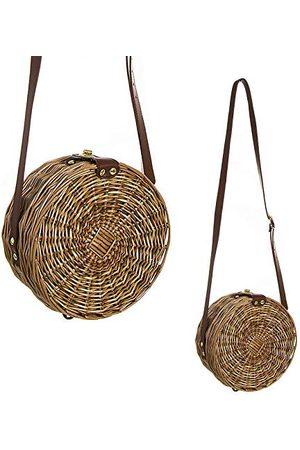D'CASA DCASA Rund väska med Minbmre tyg- och strandväska, 40 cm