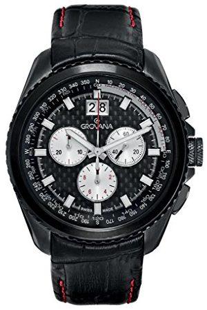 Grovana 1621.9577 herr kvarts schweizisk klocka med urtavla kronograf display och läderrem