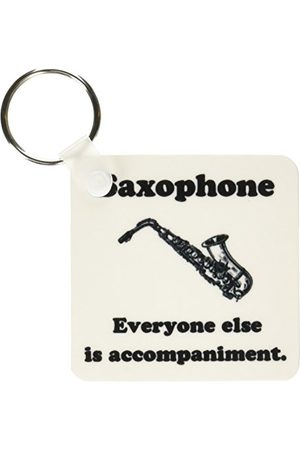 "3dRose Saxofon ""Everyone Else Is Just Accompaniment"" – nyckelringar, 5,72 cm, set med 2 nyckelringar, 6 cm, varierar"
