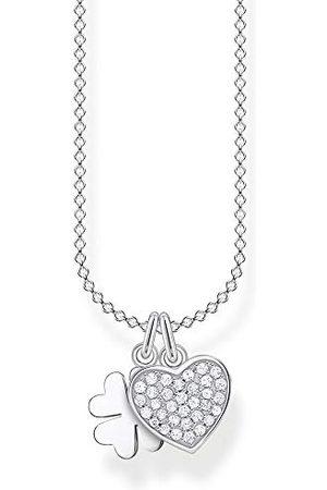 Thomas Sabo Damer halsband klöverblad med hjärta pavé 925 sterlingsilver, 38–45 cm längd