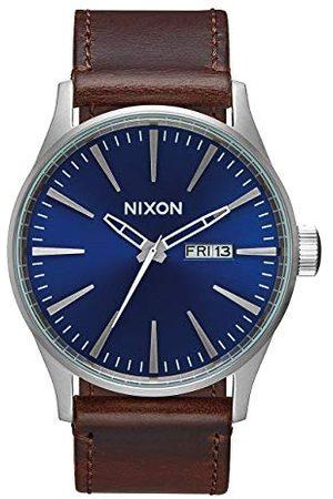 Nixon Herr A105 sentry 42 mm rostfritt stål läder kvarts rörelse klocka rem En storlek Blue/Chocolate