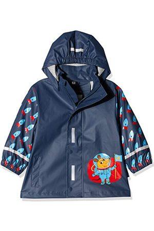 Playshoes Barn regnjacka med avtagbar huva, söt regnrock för pojkar, med musmotiv och raketmönster