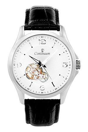 Continuum Klocka automatisk klocka armbandsur silver för män analog herrklocka herrklocka med läder armband vattentät klassisk elegant urtavla C15H26