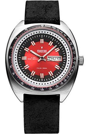 Fonderia Herr analog kvarts smartklocka armbandsur med läderarmband P-6A004UR1