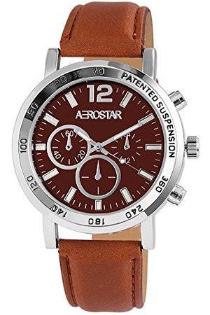 Aerostar Herr analog kvartsklocka med lädererimitat armband 211027600001