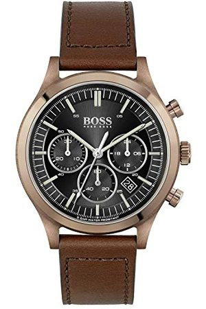 HUGO BOSS Analog kvartsklocka för män med läderrem 1513800