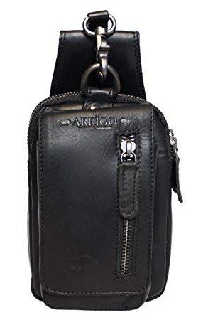 Arrigo Unisex läderbälte väska, bältesväska, M, mörkblåMedium