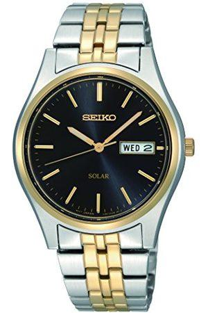 Seiko Herr analog klassisk soldriven klocka med rostfritt stålrem SNE034P1