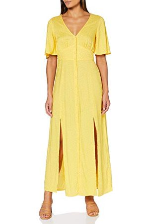 Miss Selfridge Dam Yellow Sophie Spot Print Button Through Maxi Dress ledig klänning