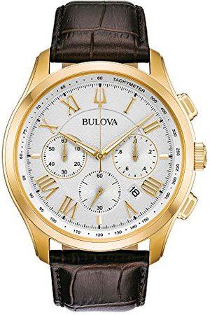 BULOVA Herr kronograf kvartsklocka med läderrem 97B169