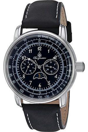 Burgmeister Armbandsur för män med analog visning, kvartsur och läderarmbandvattentät herrklocka med tidlös, elegant designklassisk klocka för mänBM335-122 lins