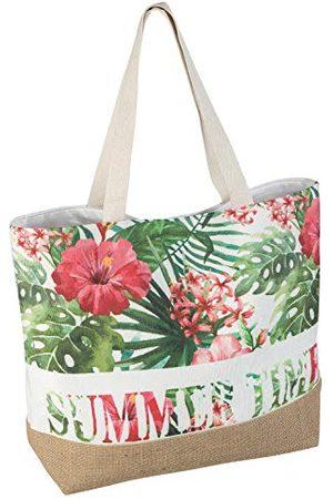 Idena Strandväska av kanvas, Summer Time med blommigt mönster, ca 52 x 38 x 13 cm, perfekt som shoppingväska, axelväska, för semester, strand och picknick