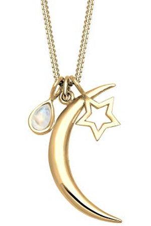 Elli Damhalsband med berlock halvmåne stjärna månsten måne måne måne barn stjärna astro förgyllt silver 925–60 cm längd