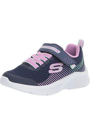 Skechers Flicka microspec Sneaker, Marinblå nät lavendel mint trim27.5 EU