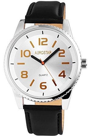 Aerostar Herr analog kvartsklocka med lädermitat armband 21102280007