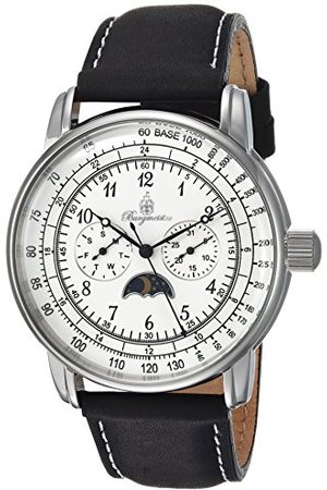 Burgmeister Herr analog kvartsklocka med läderrem BM335-182