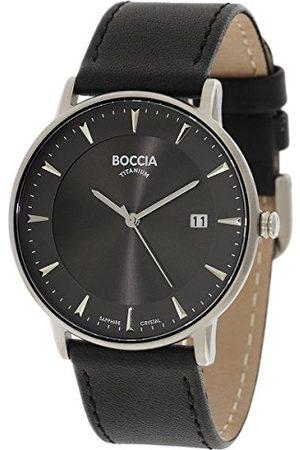 Boccia Herr digital kvartsklocka med läderarmband 3607-01