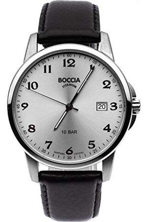 Boccia Herr analog kvartsklocka med läderrem 3633-03