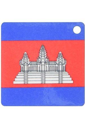 3dRose Kambodjas flagga röd blå med vit Angkor Wat tempel svart kontur nyckelring, 6 cm;, varierar