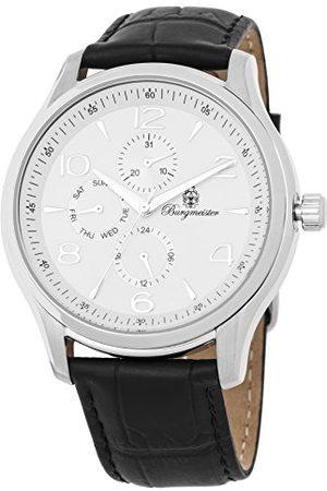Burgmeister Herr datum klassisk kvartsklocka med läderarmband BMT04-182