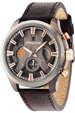 Police Polis herr kronograf kvartsur med läderrem 14639JSBZU/61