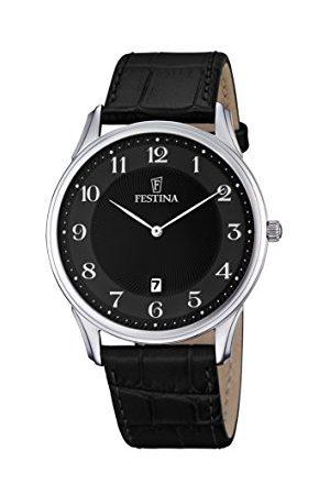 Festina Klassisk kvartsklocka för män med urtavla analog display och läderrem F6851/4