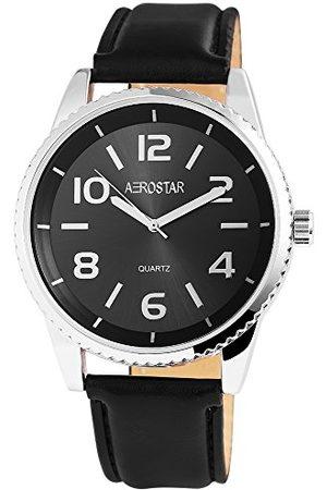 Aerostar Herr analog kvartsklocka med lädermärke armband 211021000007