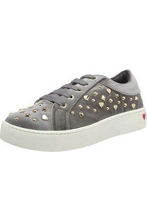 Love Moschino Dam Scarpad.gomma35 Velluto Sneaker, Grigio 018-39 EU