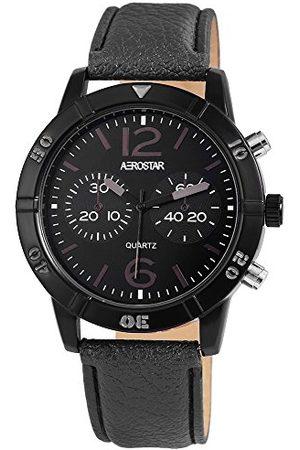 Aerostar Herr analog kvartsklocka med läderarmband 211071600002