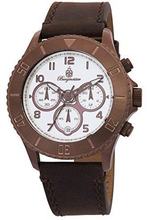 Burgmeister Armbandsur för män med analog visning, kronograf och läderarmbandvattentätt herrarmbandsur med tidlös, elegant designklassisk klocka för mänBM532-015 vintage
