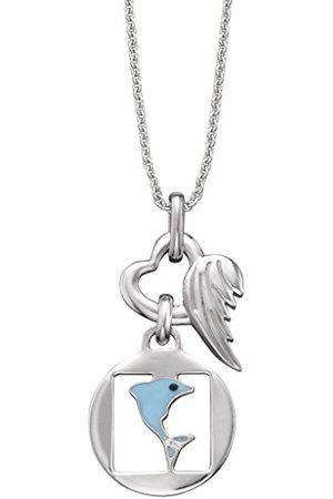 HERZENGEL Hjärta engel Freedom kedja med berlock för flickor med liten delfin 925 sterlingsilver rhodinerad längd 37 cm plus 2 cm