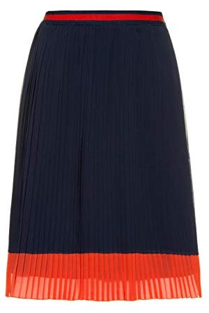 Ulla Popken Kvinnor stora storlekar, plisséerock tvåfärgad kjol
